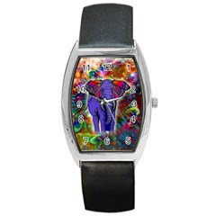 Abstract Elephant With Butterfly Ears Colorful Galaxy Barrel Style Metal Watch