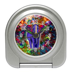 Abstract Elephant With Butterfly Ears Colorful Galaxy Travel Alarm Clocks