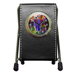 Abstract Elephant With Butterfly Ears Colorful Galaxy Pen Holder Desk Clocks