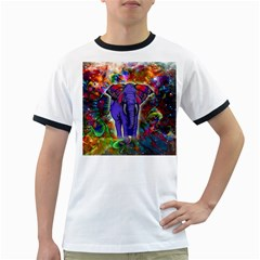 Abstract Elephant With Butterfly Ears Colorful Galaxy Ringer T Shirts