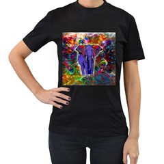 Abstract Elephant With Butterfly Ears Colorful Galaxy Women s T Shirt (black) (two Sided) by EDDArt