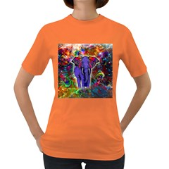 Abstract Elephant With Butterfly Ears Colorful Galaxy Women s Dark T Shirt