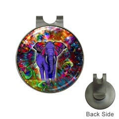 Abstract Elephant With Butterfly Ears Colorful Galaxy Hat Clips With Golf Markers