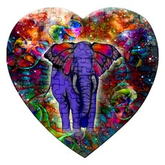 Abstract Elephant With Butterfly Ears Colorful Galaxy Jigsaw Puzzle (heart)