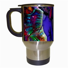 Abstract Elephant With Butterfly Ears Colorful Galaxy Travel Mugs (white) by EDDArt