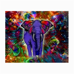 Abstract Elephant With Butterfly Ears Colorful Galaxy Small Glasses Cloth