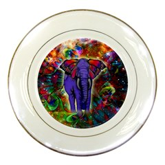 Abstract Elephant With Butterfly Ears Colorful Galaxy Porcelain Plates