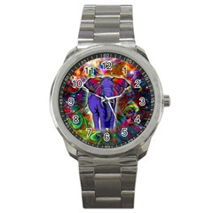 Abstract Elephant With Butterfly Ears Colorful Galaxy Sport Metal Watch