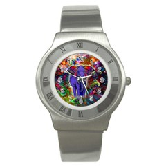 Abstract Elephant With Butterfly Ears Colorful Galaxy Stainless Steel Watch