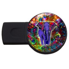 Abstract Elephant With Butterfly Ears Colorful Galaxy Usb Flash Drive Round (4 Gb)