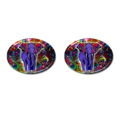 Abstract Elephant With Butterfly Ears Colorful Galaxy Cufflinks (oval) by EDDArt