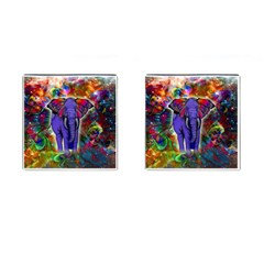 Abstract Elephant With Butterfly Ears Colorful Galaxy Cufflinks (square)