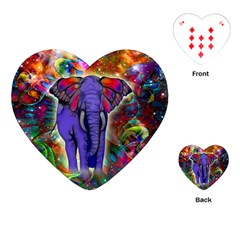 Abstract Elephant With Butterfly Ears Colorful Galaxy Playing Cards (heart)  by EDDArt