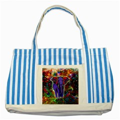 Abstract Elephant With Butterfly Ears Colorful Galaxy Striped Blue Tote Bag