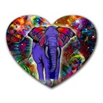 Abstract Elephant With Butterfly Ears Colorful Galaxy Heart Mousepads Front