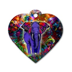 Abstract Elephant With Butterfly Ears Colorful Galaxy Dog Tag Heart (one Side)