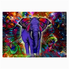 Abstract Elephant With Butterfly Ears Colorful Galaxy Large Glasses Cloth