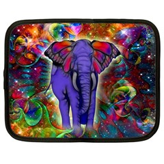 Abstract Elephant With Butterfly Ears Colorful Galaxy Netbook Case (large)