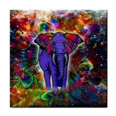 Abstract Elephant With Butterfly Ears Colorful Galaxy Face Towel by EDDArt