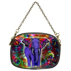 Abstract Elephant With Butterfly Ears Colorful Galaxy Chain Purses (two Sides)