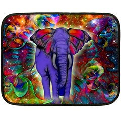 Abstract Elephant With Butterfly Ears Colorful Galaxy Double Sided Fleece Blanket (mini)  by EDDArt