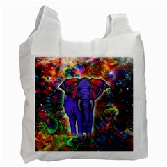 Abstract Elephant With Butterfly Ears Colorful Galaxy Recycle Bag (one Side) by EDDArt