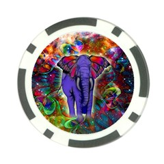 Abstract Elephant With Butterfly Ears Colorful Galaxy Poker Chip Card Guard (10 Pack)