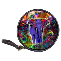 Abstract Elephant With Butterfly Ears Colorful Galaxy Classic 20 Cd Wallets