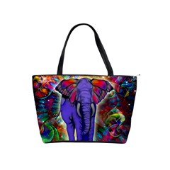 Abstract Elephant With Butterfly Ears Colorful Galaxy Shoulder Handbags by EDDArt