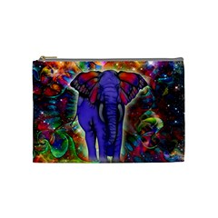 Abstract Elephant With Butterfly Ears Colorful Galaxy Cosmetic Bag (medium)