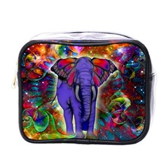 Abstract Elephant With Butterfly Ears Colorful Galaxy Mini Toiletries Bags