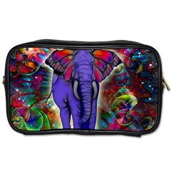 Abstract Elephant With Butterfly Ears Colorful Galaxy Toiletries Bags 2 Side