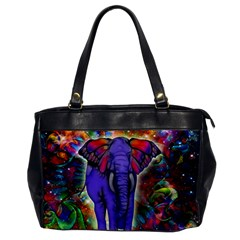 Abstract Elephant With Butterfly Ears Colorful Galaxy Office Handbags