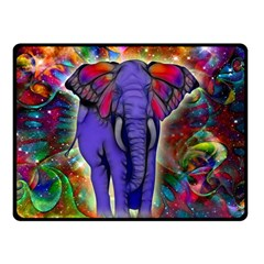 Abstract Elephant With Butterfly Ears Colorful Galaxy Fleece Blanket (small) by EDDArt