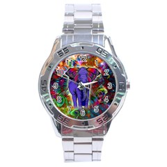 Abstract Elephant With Butterfly Ears Colorful Galaxy Stainless Steel Analogue Watch