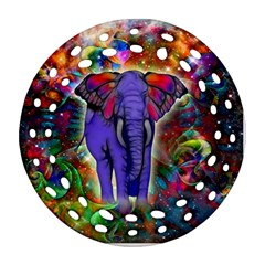 Abstract Elephant With Butterfly Ears Colorful Galaxy Round Filigree Ornament (two Sides)