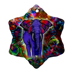 Abstract Elephant With Butterfly Ears Colorful Galaxy Snowflake Ornament (two Sides) by EDDArt