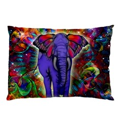 Abstract Elephant With Butterfly Ears Colorful Galaxy Pillow Case (two Sides)