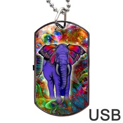 Abstract Elephant With Butterfly Ears Colorful Galaxy Dog Tag Usb Flash (two Sides)