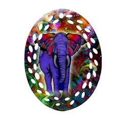 Abstract Elephant With Butterfly Ears Colorful Galaxy Ornament (oval Filigree) by EDDArt