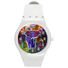 Abstract Elephant With Butterfly Ears Colorful Galaxy Round Plastic Sport Watch (m)