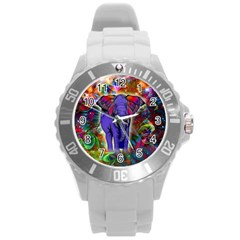 Abstract Elephant With Butterfly Ears Colorful Galaxy Round Plastic Sport Watch (l) by EDDArt