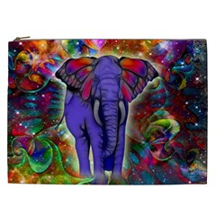 Abstract Elephant With Butterfly Ears Colorful Galaxy Cosmetic Bag (xxl)