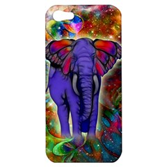 Abstract Elephant With Butterfly Ears Colorful Galaxy Apple Iphone 5 Hardshell Case by EDDArt