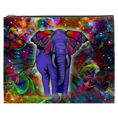 Abstract Elephant With Butterfly Ears Colorful Galaxy Cosmetic Bag (xxxl)  by EDDArt