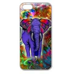 Abstract Elephant With Butterfly Ears Colorful Galaxy Apple Seamless Iphone 5 Case (clear) by EDDArt