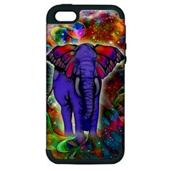 Abstract Elephant With Butterfly Ears Colorful Galaxy Apple Iphone 5 Hardshell Case (pc+silicone) by EDDArt