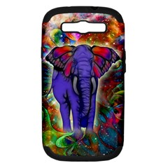 Abstract Elephant With Butterfly Ears Colorful Galaxy Samsung Galaxy S Iii Hardshell Case (pc+silicone)