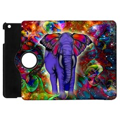 Abstract Elephant With Butterfly Ears Colorful Galaxy Apple Ipad Mini Flip 360 Case