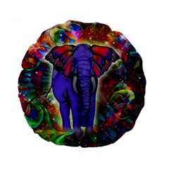Abstract Elephant With Butterfly Ears Colorful Galaxy Standard 15  Premium Round Cushions